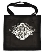 Lucky 13 Lucky Hand Printed Canvas Tote Bag (Black)