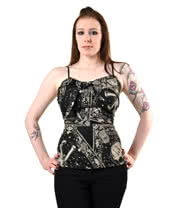 Lucky 13 Untangled Bandana Print Halter Top (Black/White)