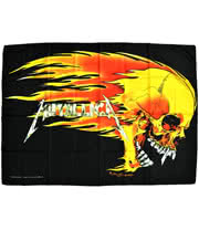 Metallica Flaming Skull Flag
