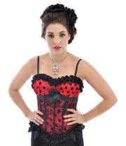Midnight Peep Show Polka Dot Corset (Red)