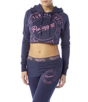 Pineapple Survival Crop Hoodie (Purple)