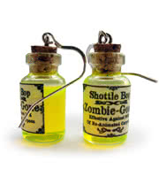 Shottle Bop Zombie Gone Bottle Earrings (UV Yellow/Green)