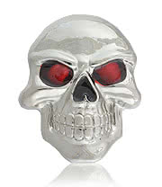 Blue Banana Skull Red Eyes Belt Buckle (Silver)