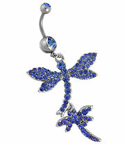 Surgical Steel Dragonfly Jewelled 1.6mm Navel Bar (Capri)