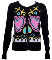 Too Fast Sugar Face Cardigan (Black)