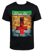 Blue Banana Occult Hell Craft Pixel T Shirt (Black)