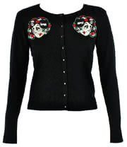 Voodoo Vixen Rose Girl Cardigan (Black)