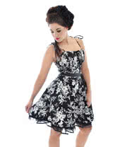 Voodoo Vixen Flowers Dress (Black/White)